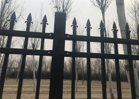 Good Quality Garrison fence & Coated Steel Garden and Park Fence 1200mm x 2400mm stain RAL 6005 color upright 25mmx25mm on sale
