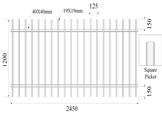 Good Quality Garrison fence & Pressed Spear Top 2100mm*2450mm Hercules Steel Fence Panels 2 xrail 40mm RHS x 1.6mm spacing 125mm upright 25mm x 1.2mm on sale