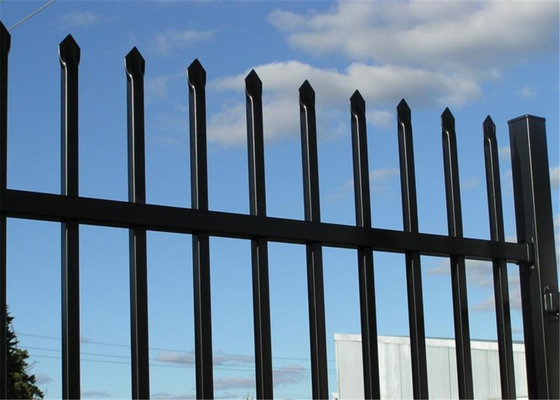China steel tubular Security Garrison Fencing 2.4M height x 2.4M width Rails 40mm upright 25mm spacing powder coated distributor