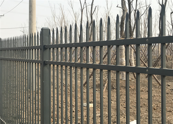 China Steel Tubular Garrison Security Fence Panels 2.1m*2.4m WA area Rail 40mm*1.5mm Picket 25mm*1.2mm Stain Black Powder distributor