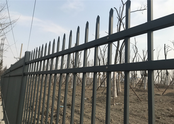 China Steel Spear Top Fencing 1830mm height x 3050mm width 3 rails 40mm stain grey powder interpon Post 100mm RHS distributor