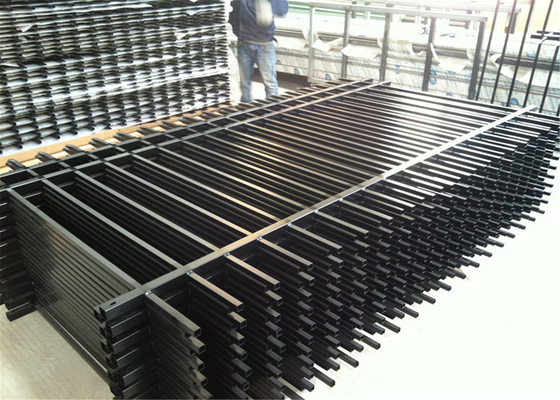 China 1200mm Black Grey Powder Coated Flat Top steel Pool Fence 1200mm x 2500mm distributor
