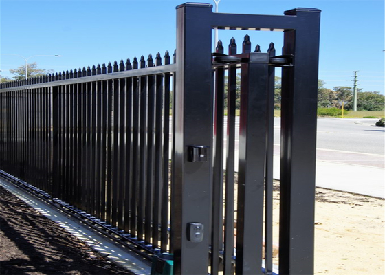 China Black Interpon Powder Coated Falt Top Tubular Steel Fencing Panels 1800mm x 2350mm distributor