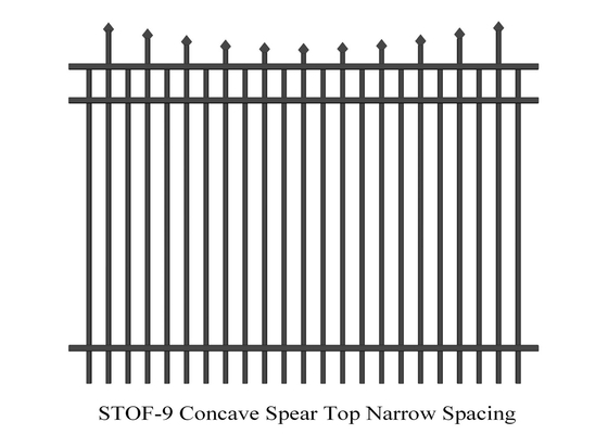Good Quality Garrison Fence & Concave  Crimped Spear Top Narrow Spacing Steel Security Fence 2.1m x 2.4m rails 38mm x 38mm 3 rails on sale