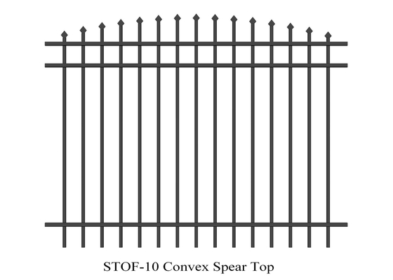 Good Quality Garrison Fence & Convex Spear Top Crimped Steel Garrison Fencing 40mm x 40mm x 3 rails Tubular Steel Fence powder coated 80 microns on sale