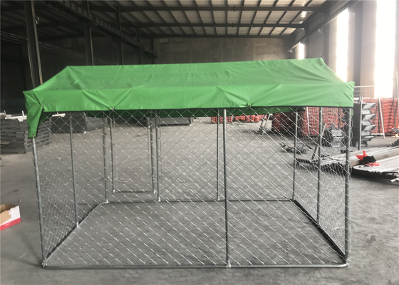 China 7.5x7.5x6ft(2.3x2.3x1.8m) chain link fabric dog kennel HDG and Self highed Locking dog fence distributor