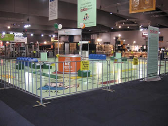 The crowd control barriers are installed surround the exhibition hall.