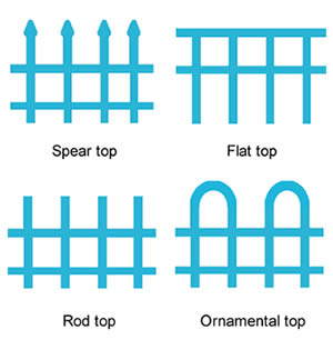 Four types of steel fence tops include spear top, flat top, rod top and ornamental top.