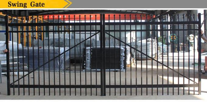 Black galvanized powder coated decorative steel tubular fence