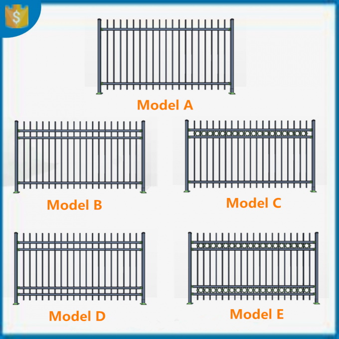 Powder Coated Galvanized Steel Tubular Ornamental Spear Top black outdoor model metal fence,Galvanized Garrison fencing