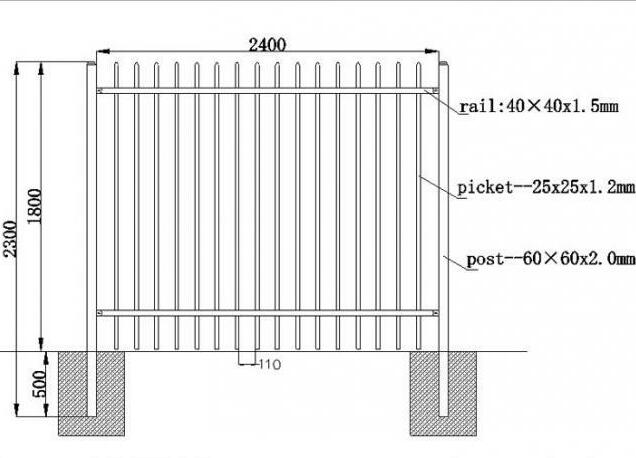 Australia standard black garrison spear tubular steel fence