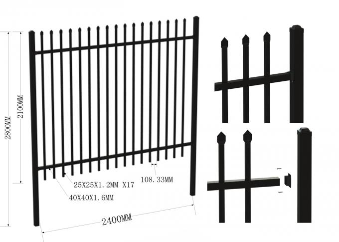 Ornamental Garrison Tubular Security Fence Panels 45mm*45mm x 1.6mm thick 25mm x 25mm picket crimped spear or flat top