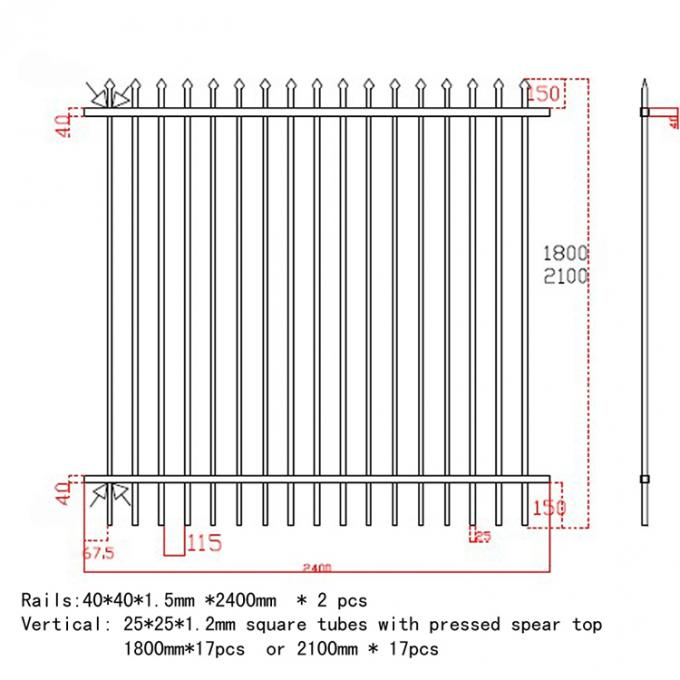 Industrial Steel Security Crimped Spear Fencing Panels