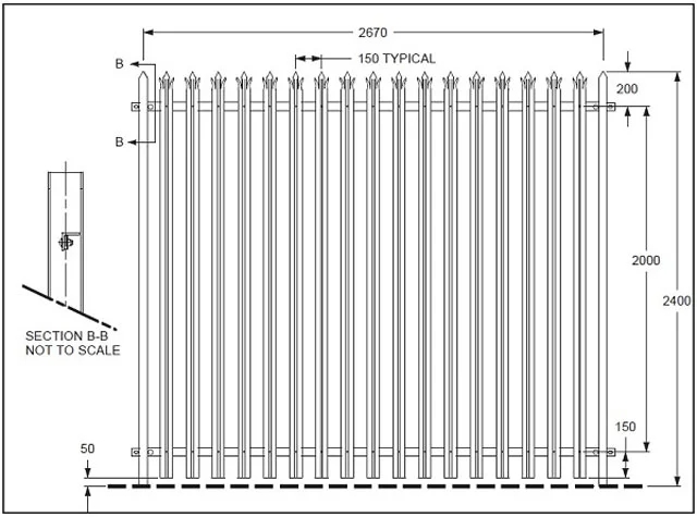Hot dipped Galvanized Palisade fencing
