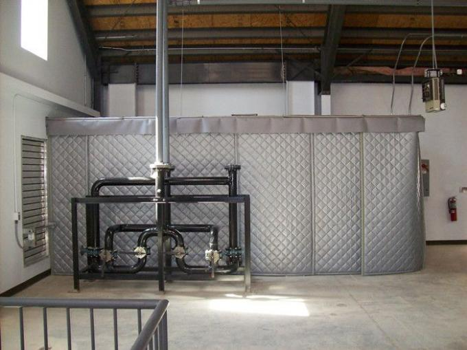 Construction Site Portable Sound Barrier Secured with Temp Fence Panels