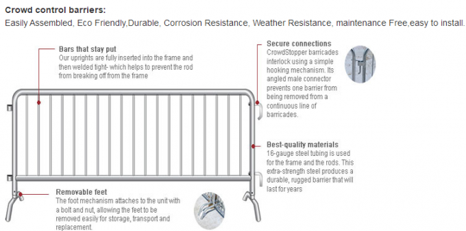 hot dipped galvanized crowd control barriers