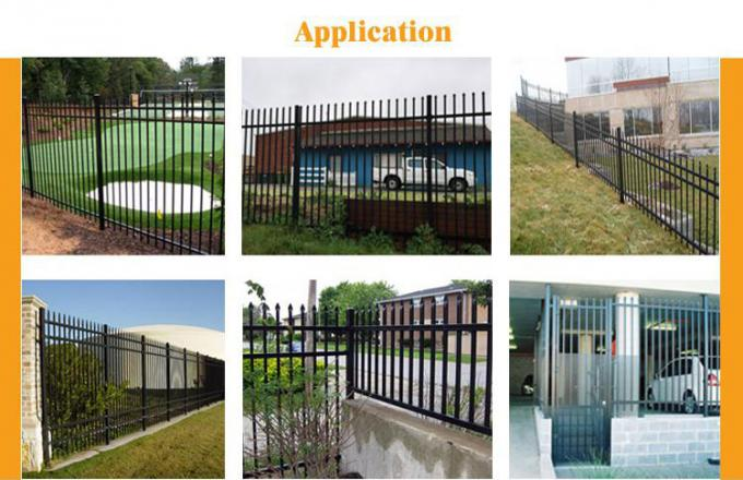 1800mm height x 2450mm crimped spear Hercules fence panels upright 25mm x 25mm x 1.2mm spacing 125mm Powder coated black