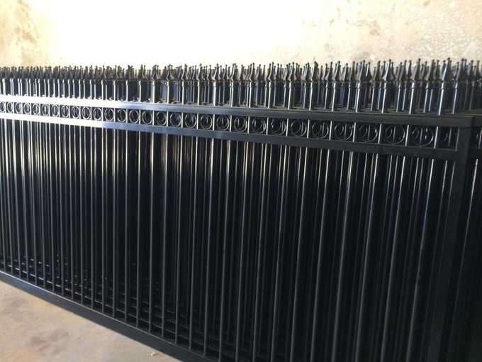 Pressed spear top security Steel fencing with Punched Tube Rails