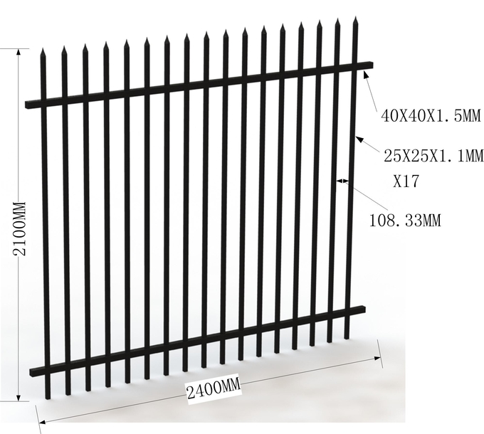 Security Fence,Tubular Fencing steel Black Fence Panels 2100mm high
