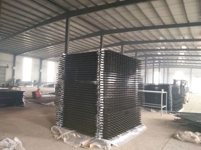 Black pvc power coated welded security garrison fencing 2400mm x 2400mm preminum panels