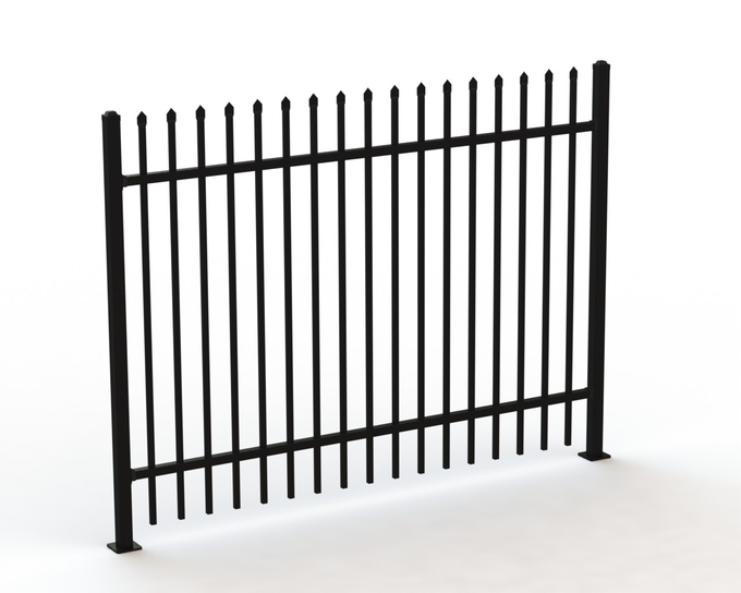 used wrought iron fence panels/tubular steel fence/garrison fence 2100MM X 2400MM for sale perth WA stain black powder