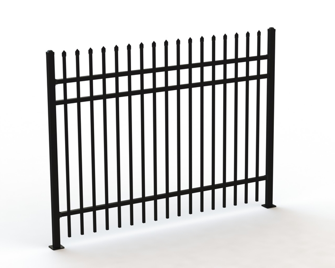 Tubular Hot Dipped Steel Fence Panels ,Crimped Top Spear Highest Deterrent Fence