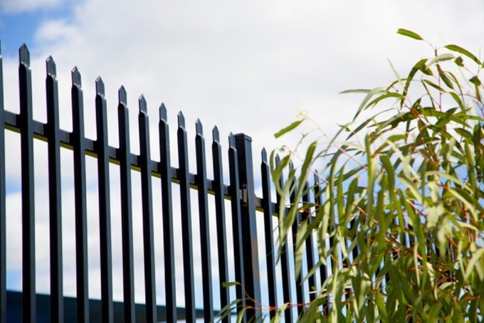2.1m high x 2.4m width Steel Picket Fence Powder Coated Black Color China supplier