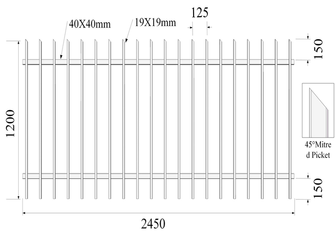 2100mm height x 2450mm width square flat picket HERCULES steel fence 25mm upright x spacing 125mm rail 40mm stain powder