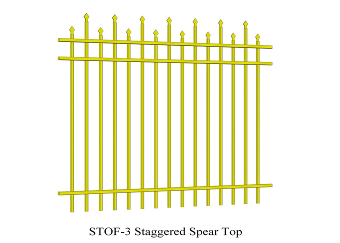 3 horizontal rails 40mm x 40mm staggered crimped to spear security steel garrison fence 2.1mx2.4m