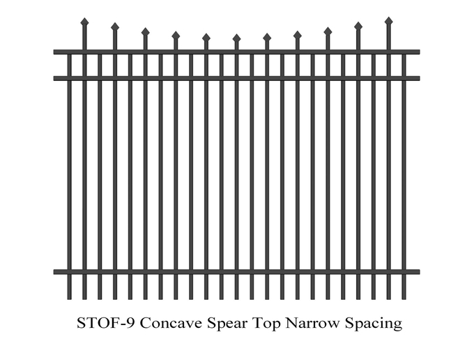 Concave  Crimped Spear Top Narrow Spacing Steel Security Fence 2.1m x 2.4m rails 38mm x 38mm 3 rails