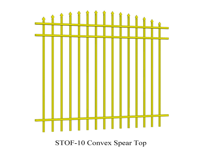 Convex Spear Top Crimped Steel Garrison Fencing 40mm x 40mm x 3 rails Tubular Steel Fence powder coated 80 microns