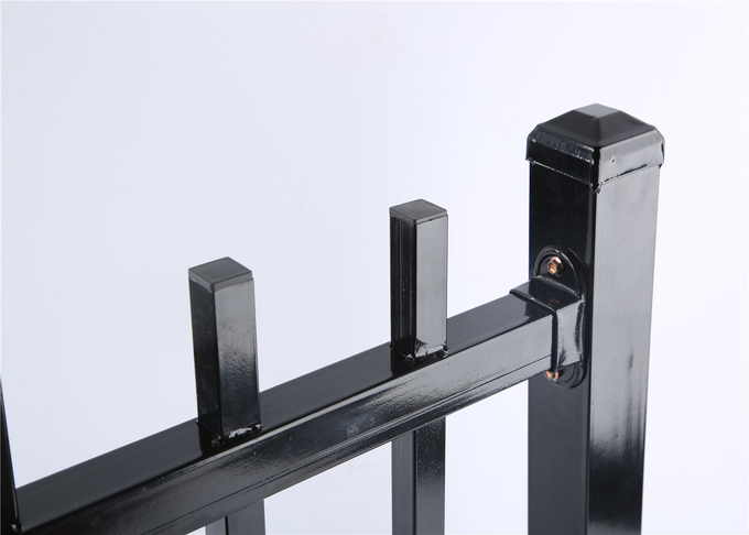 2.1mx2.4m rail 40mm she tube Australia Black Heavy Duty Welded Security garrison steel picket fencing/Garrison Fence Pan