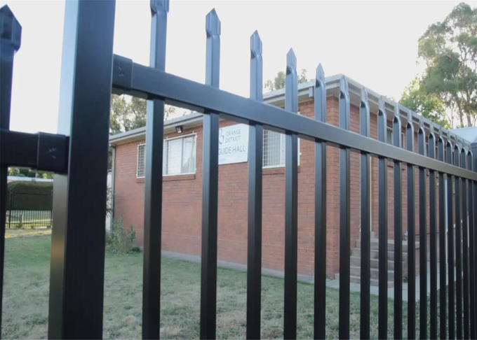 Blue Powder Coated 1.8mx2.4m Crimped Spear Garrison Fencing Panels tubular Steel Fence Customized Service