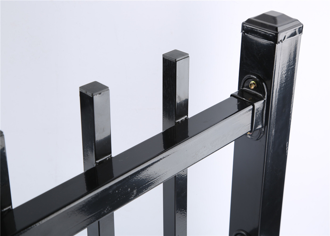 Brisbane Tubular Steel Garrison Fencing Panels Supplier Interpon black powder coated 1.8mx2.4m width steel fence panels